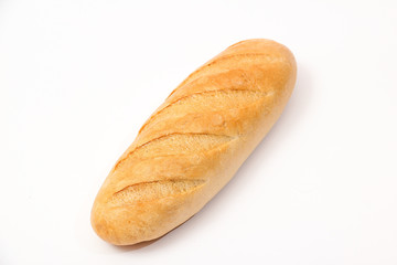 Eastern Europe long loaf bread on a white background.