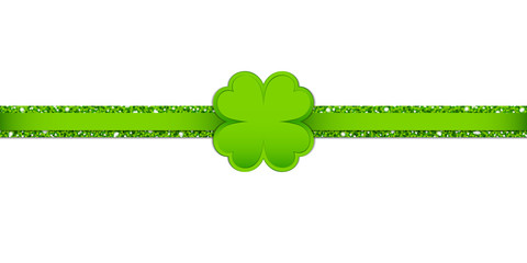 Light Green Clover Double Glitter Ribbon Horizontal
