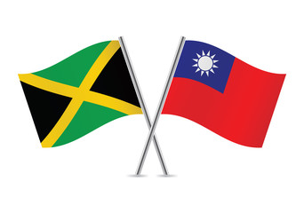 Jamaican and Taiwanese flags. Vector illustration.