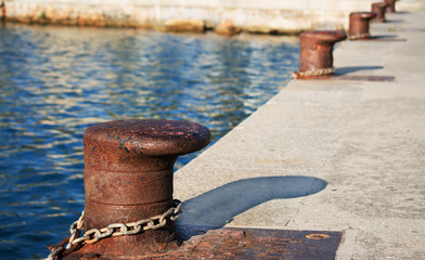 metal bollards on the dock