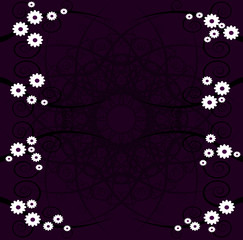 swirl flowers pattern on purple texture
