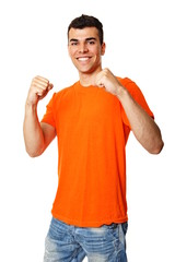 Happy young man in orange shirt on white background