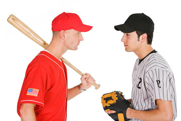 Baseball: Players From Opposing Teams Stand Eye to Eye