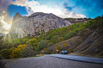 Road, disappearing into the mountains. Caravanning in Crimea