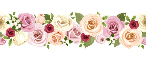 Horizontal seamless background with roses and lisianthus flowers