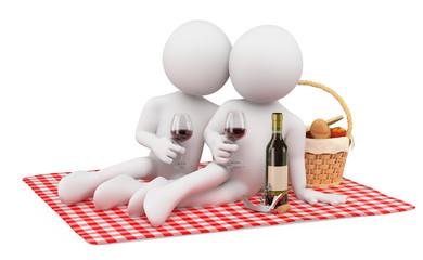 3D white people. Couple romantic picnic. Valentines Day