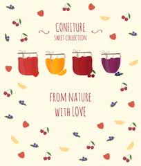 Banner with jam.  Vector illustration with text for your design.