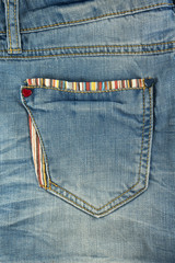 Jeans pocket closeup