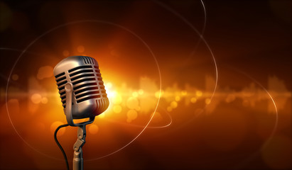 Retro microphone and abstract background with sound waves