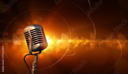 Leinwanddruck Bild Retro microphone and abstract background with sound waves