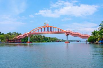 bridge across river in Amritapuri,  India