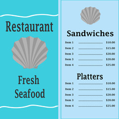 Teal Seafood Menu with a Scallop Shell