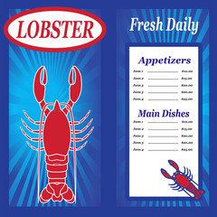 Seafood Menu in Blue with a Lobster