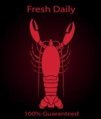 Lobster Sign or Menu Cover Over a Black Background