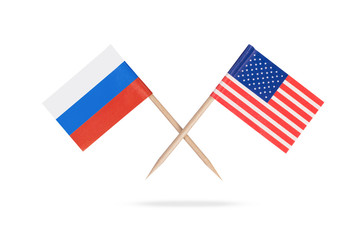 Crossed mini flags USA and Russia