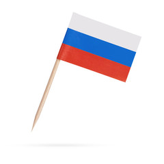 Miniature Flag Russia.Isolated on white background