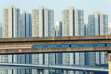 sky train and track system in a modern neighborhood
