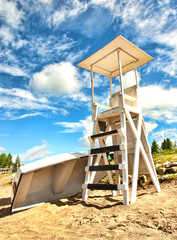 lifeguard stand and row boat