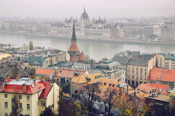 Aerial view of Budapest in autumn