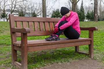 Young athlete woman tired or depressed