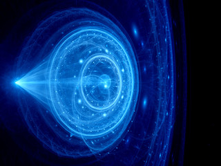Blue glowing jump gate in space