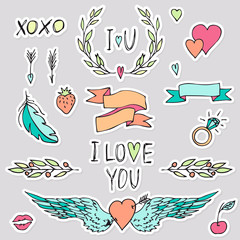 Valentines day stickers set with hearts, arrows, lips, angel