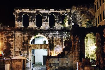 Ruins of Split at night, Croatia