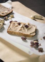 pumpernickel bread with peanut butter