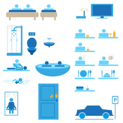 hotel web icons vector