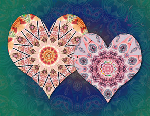 Couple of hearts with mandalas