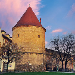 Old tower in Zagreb, Croatia at the sunset