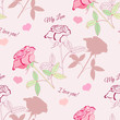Seamless pattern with pink rose2-2