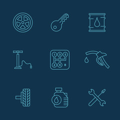 Simple set of auto related vector icons for your design