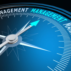 Management word on compass