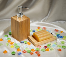 kinds of soap on silk background