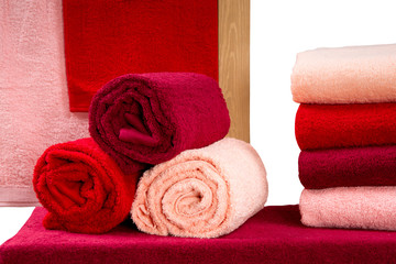 set of colorful twisted terry towels isolated on white