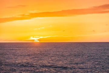 romantic sunset at the coast at Los Hervideros