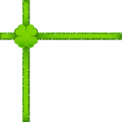 Light Green Clover Double Cross Ribbon Corner
