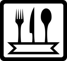 icon with utensils for restaurant foods