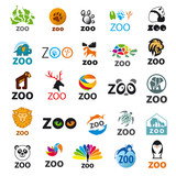 big set of vector logos zoo poster