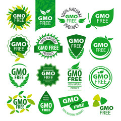 big set of vector logos natural products without GMOs