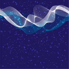 waves on blue background - vector illustration