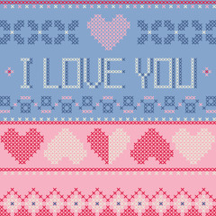 I love you - Valentine's day card, cross stitch embroidery