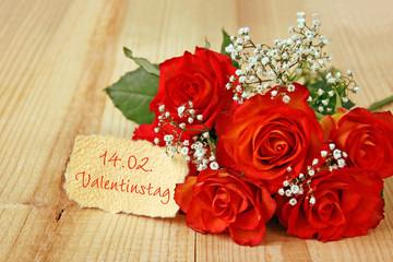 rosenstrauß mit valentinstag  terminzettel
