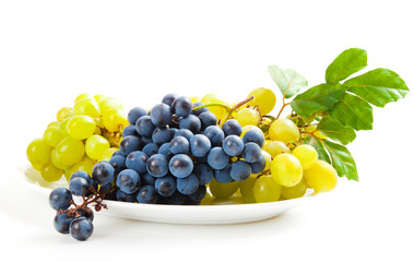 blue and yellow grapes with leaf on white background