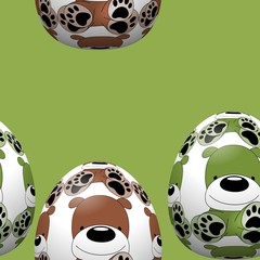 Easter eggs seamless pattern with dog ornament