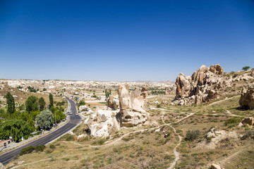 Mountain landscape in the National Park of Goreme with caves