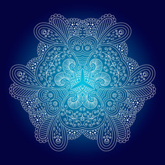 White circular ornament on a blue background.