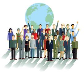 Gruppe von Personen, vor einer Weltkugel