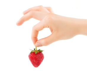Strawberry hand. Organic food strawberry in the woman's hand wit